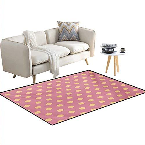 - Carpet,Geometrical Modern Classic Retro Vintage Romantic Circles Rounds Image,Rug Kid Carpet,Salmon and Pink,36