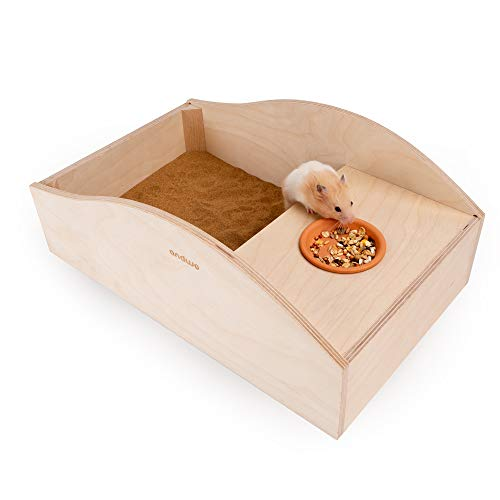 andwe Large Hamster Sand Bath Box Wooden Bathroom for Hamsters Mice Lemmings Gerbils and Others Critters