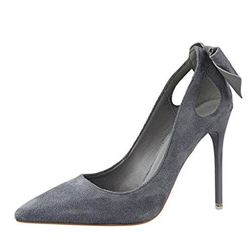 ALUK- Chaussures pour femmes - chaussures à talons hauts bow chaussures sauvages chaussures de mariage ( Couleur : Rouge , taille : 34-Shoes long220mm ) Gris