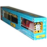 Trackmaster Road and Railway System - Thomas and Friends Motorized Road and Rail Battery Powered Tank Engine - Salty the Battered Old Diesel Engine with 2 Troublesome Trucks Loaded with Salt Packs
