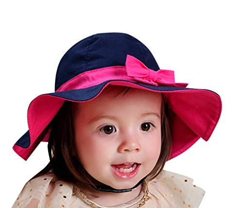 [Baby Girl's Solid Brim Sun Hat / Beach Hat with Bowknot,XXL] (Xxl Santa Suits For Sale)
