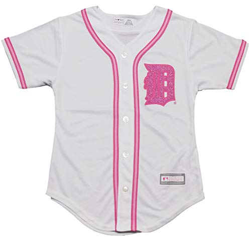 f4f8b8f0668 Detroit Tigers Blank Girls Youth White Pink Cool Base Jersey