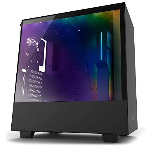 NZXT H500i - Compact ATX Mid-Tower PC Gaming Case - RGB Lighting and Fan Control - CAM-Powered Smart Device - Tempered Glass Panel -Cable Management System - Water-Cooling Ready - Black (Renewed)