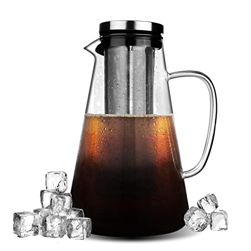 (Phyismor Cold Brew Iced Coffee Maker - 1.5L/50oz - Handmade Manual Iced Coffee Tea Maker Pitcher Infuser - Borosilicate Glass Carafe - with Fine Mesh, Removable Stainless Steel Filter)