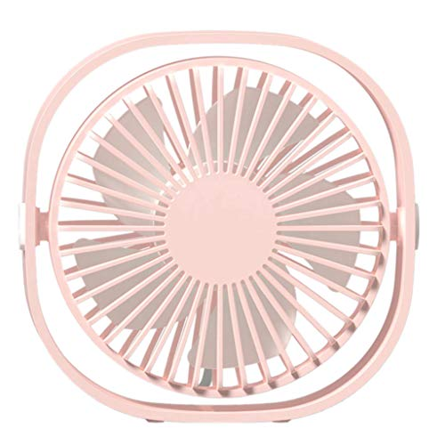 Mini Desktop Fan Portable USB Rechargeable Silent 3-Speed Adjustable Wind 360 Degree Rotation For Stroller Student Dormitory (Pink) ()