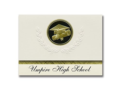 (Signature Announcements Umpire High School (Umpire, AR) Graduation Announcements, Presidential style, Elite package of 25 Cap & Diploma Seal. Black & Gold.)
