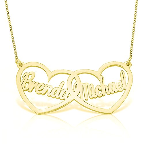 Ouslier 925 Sterling Silver Personalized Double Heart Name Necklace Pendant Custom Made with 2 Names