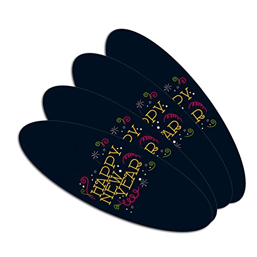Happy New Year Double-Sided Oval Nail File Emery Board Set 4