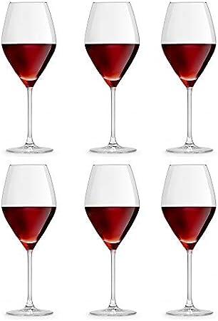 CONTENIDO DEL PAQUETE: El paquete contiene 6 copas de vino idénticas, cada una con una capacidad de