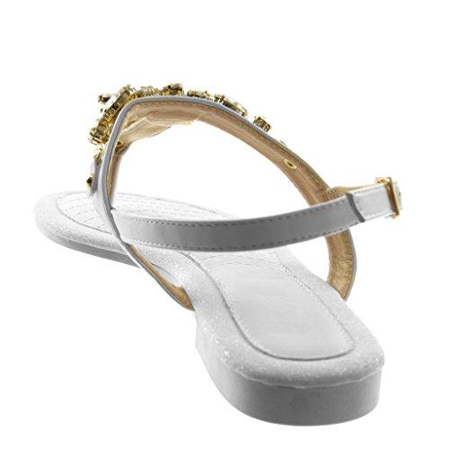 Angkorly Damen Schuhe Sandalen Flip-Flops - Knöchelriemen - T-Spange - Schmuck - Strass - Glitzer Blockabsatz 1.5 cm Weiß