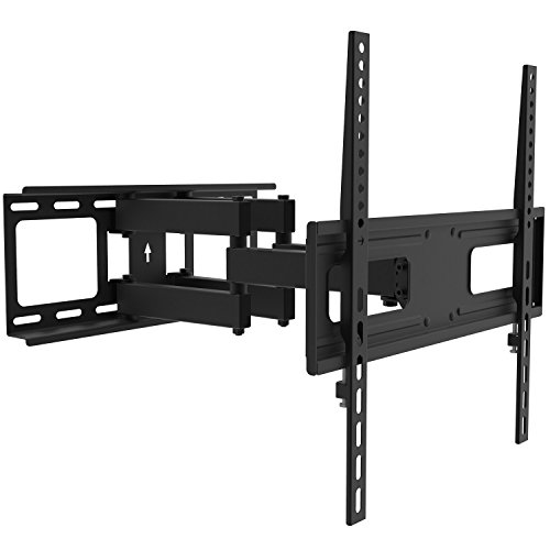 """TV Wall Mount Bracket for 26-55 inch LED, LCD Curved / Flat Panel TVs up to VESA 400X400 and 88 Lbs - Full Adjustable Articulating TV Arm Fits 12"""" 16"""" Wall Wood Studs by PrimeCables (Heavy Duty, Sturdy, Slim, Universal Design)"""