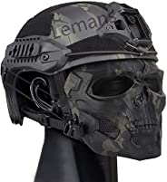 Tactical Multifunctional Quick Helmet and Full Face Mask Skull Skull with Goggles for Halloween Paintball Game