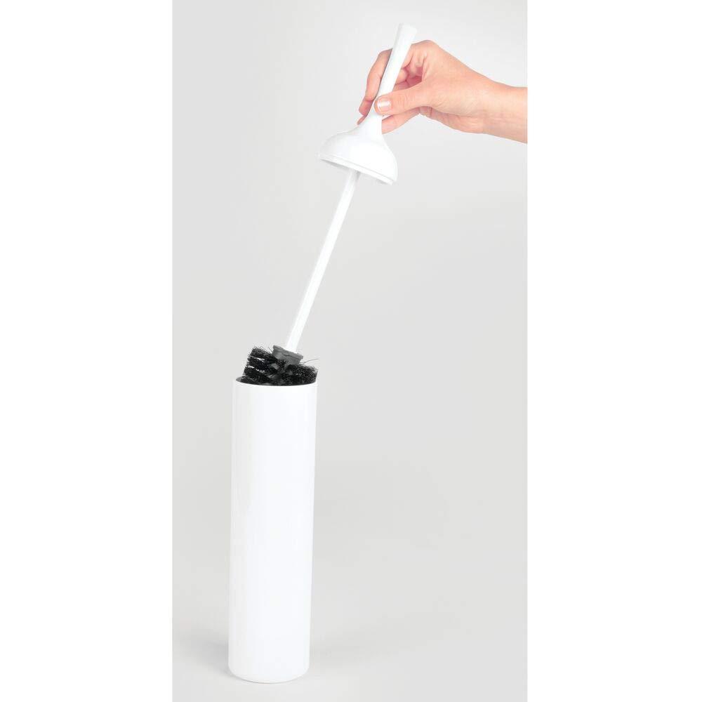 mDesign Set da 2 Scopino Bagno in Acciaio Spazzolato Scopino WC con Design Moderno con Porta scopino Bagno Incluso Bianco