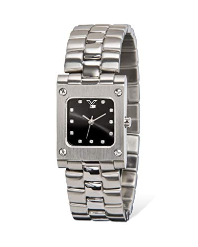 Face Chronometer Quartz Movement - Youngblood Women's Orlando I Wrist Watch - Small Square Japanese Movement Timepeace with Mineral Glass Dial and Stainless Steel Bracelet - Black Dial and Silver Band