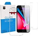 NOKAQ iPhone X Clear Screen Protector with Case, Tempered Glass Protector with Replacement Warranty, 2-Pack