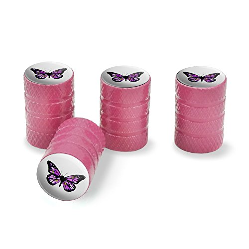 Graphics and More Butterfly with Flowers Tire Rim Wheel Aluminum Valve Stem Caps - Pink
