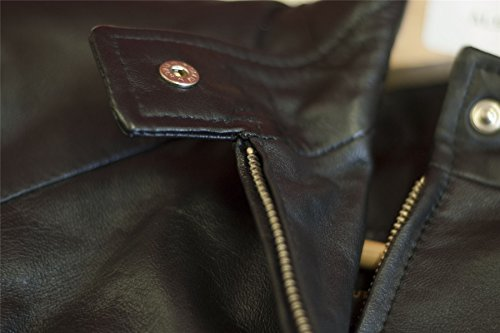 Chapini© Ladies Marion estilo motero moto suave como la seda 100% Piel de cordero auténtica Rock chaqueta en negro y marrón negro