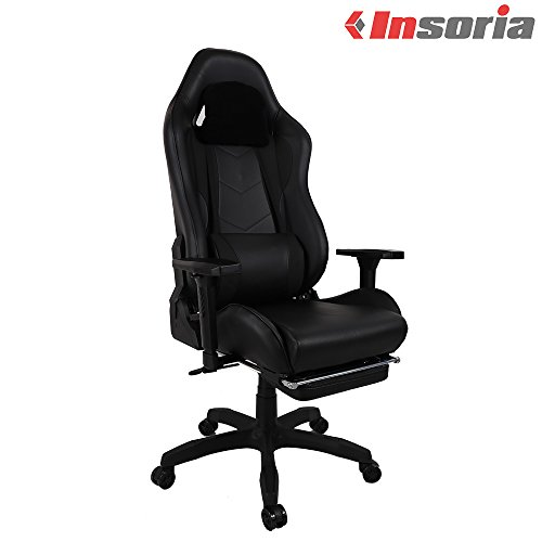 Cheap Insoria Swivel Gaming Chair Ergonomic Racing Style PU Leather Office Chair with Lumbar Massage Support and Footrest (Black)