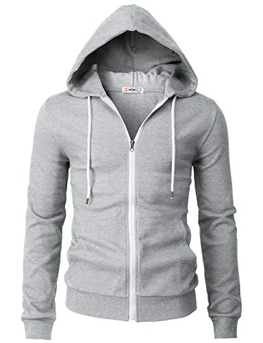 H2H Mens Casual Basic Long Sleeve Zip Up Hoodie Jacket Gray US S/Asia M (CMOHOL048)