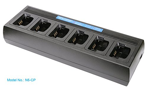 Multi Unit Rapid Charger for Motorola Radio CP200 CP200D CP200XLS PR400 CP150 CP250 EP450 CP040, Fast Charge, Compatible with Li-ion Li-Polymer Ni-MH Ni-Cd Battery, Temperature Management, Six Gang by Commountain
