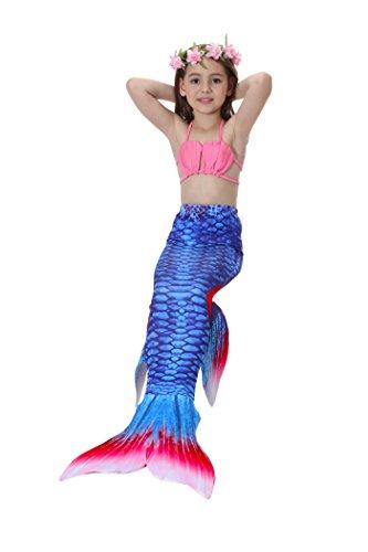Kasual Girl's Mermaid Tail 3Pcs Sets Sunsuit Swimsuit Bathingsuit Sea-maid Bikini (Mermaid Tails)