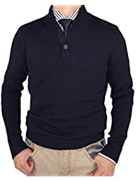 Classic Fit Mens Mock Neck Ribbed Fitted Sweater Premium Cotton