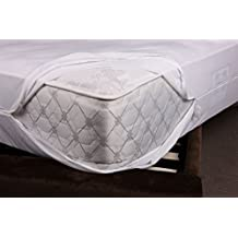 Mattress Encasement- 100% Polyester- water proof, bed bug protection, dust mite protection, stain proof- Covers the whole mattress from all around - White (Double)