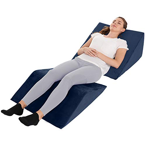 Bed Wedge Pillow - 2 Separate Memory Foam Incline Cushions, System for Legs, Knees and Back Support Pillow | Acid Reflux, Anti Snoring, Heartburn, Reading - Machine Washable, Navy