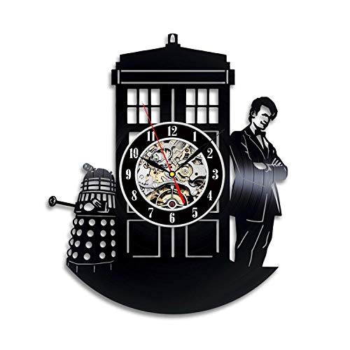 (Doctor Who Vinyl Wall Clock Art Gift Room Modern Home Record Vintage Decoration)