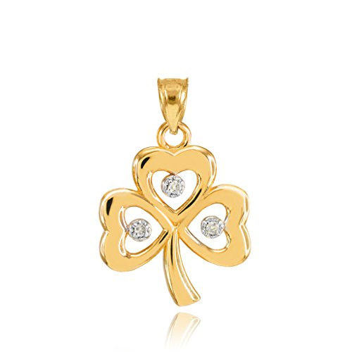 14k Yellow Gold Shamrock Charm Three Diamond Clover Leaf Bracelet Charm
