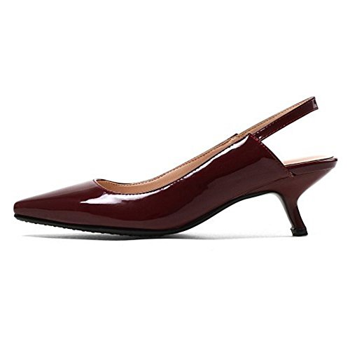 Coolcept Mujer Slingback Bombas Zapatos Mini Tacon Claret