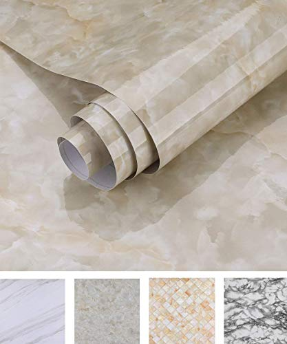 Oxdigi Marble Contact Paper 24 x 196 inches Self Adhesive Peel & Stick Wallpaper for Kitchen Countertop Cabinet Furniture Waterproof PVC Removable Cream