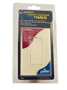 Leviton 6652-1A Decora 500W/500VA 1/6HP Variable Countdown 1 Minute to 18 Hours Electronic Incandescent/Inductive Timer, Single Pole or 3-Way, Almond