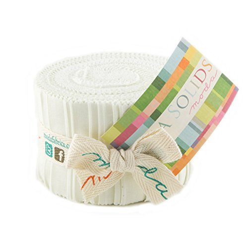 Bella Solids Porcelain Jr Jelly Roll (9900JJR 182) by Moda House Designer for Moda - White Designer Fabric