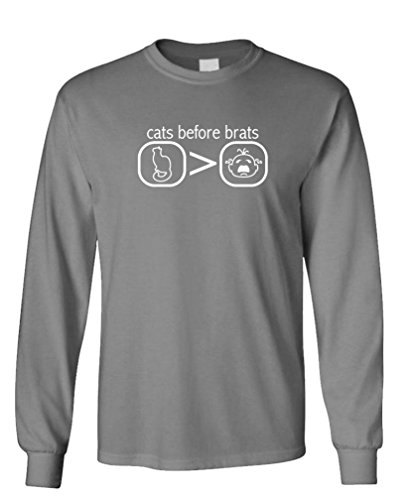 - Cats Before Brats - Kittens Cute childfree - Long Sleeved Tee, S, Charcoal