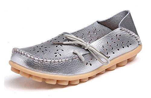 VenusCelia Damen Atmungsaktiver Walking Flat Loafer Silber