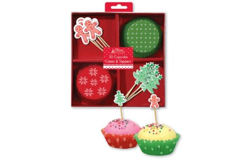 Concept4u Christmas Party 30 Cupcake Cases amp Toppers Kit Gingerbread Man Xmas Tree Design Toppers / Picks amp Snowflake Polka Dot Design Cup Cake Case