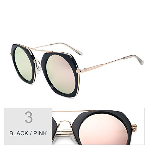 Moda Negro TIANLIANG04 Sol Color Pink De Plateado Sol De Mujeres De En Polarizadas Espejo Vintage Redondo Black Gafas Gafas gaFq7w