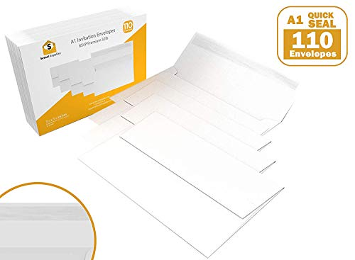 """(110 3.5x5 White RSVP Small Envelopes - A1 - for Weddings Response Cards, Baby Showers, Thank You Notes, Photos and Any 3"""" x 5"""" Inserts (3 5/8 x 5 1/8 inches) - W/Peel, Press & Self Seal - Square Flap)"""
