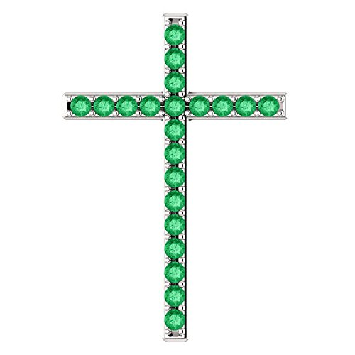 Green Pastures Emerald Cross Pendant in 18K White (Emerald 18k Gold Cross Jewelry)
