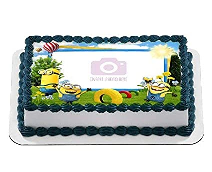 Minions Despicable Custom Create Your Own Edible Cake Topper Personalized Birthday 1 2 Size Sheet
