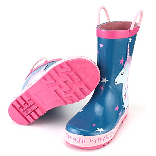 KomForme Kids Girl Rain Boots, Waterproof Rubber Printed with Handles in Various Prints and Different Sizes by KomForme (Image #6)