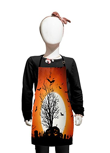 Lunarable Vintage Halloween Kids Apron, Grunge Halloween Image with Eerie Atmosphere Graveyard Bats Pumpkins, Boys Girls Apron Bib with Adjustable Ties for Cooking Baking and Painting, Orange -