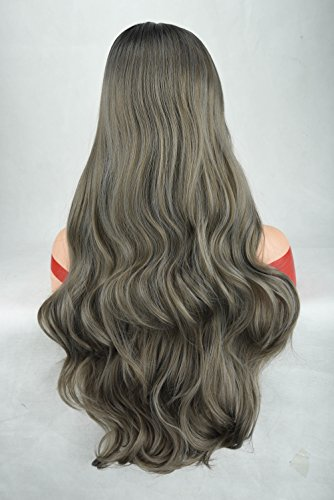 SEIKEA 30'' Long Wavy Wig Grey Dark Blonde Mixed Synthetic Hair for Women Black Root Natural