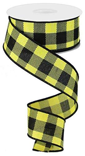 (Plaid Check Wired Edge Ribbon - 10 Yards (Yellow, Black, 1.5