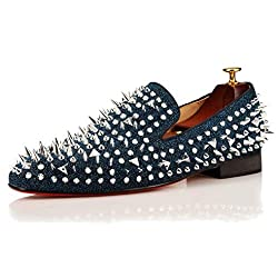 Spikes Rhinestones Glitter Loafers