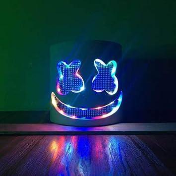 Yukun Máscara Nightclub de Halloween Masquerade Máscara de luz Que emite la Voz Fluorescente DJ Casco