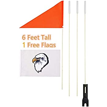 Amazon com : In the Breeze Bike Safety Flag with Pole, 6-Foot