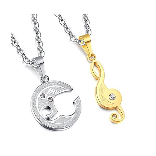 DESCHMUCK Stainless Steel Friend Couple Puzzle Pendant Necklace Music Note Engraved with Chain (Bracelet Set Friends 4ever)