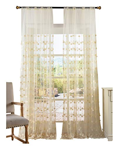 Aside Bside Elegance Floral Embroidered Decoration Sheer Curtains Rod Pocket Top Gauze Curtain Treatments for Living Room & Bedroom(1 Panel, W 50 x L 90 inch, White) -X0532C1FFERD65090-8506 ()